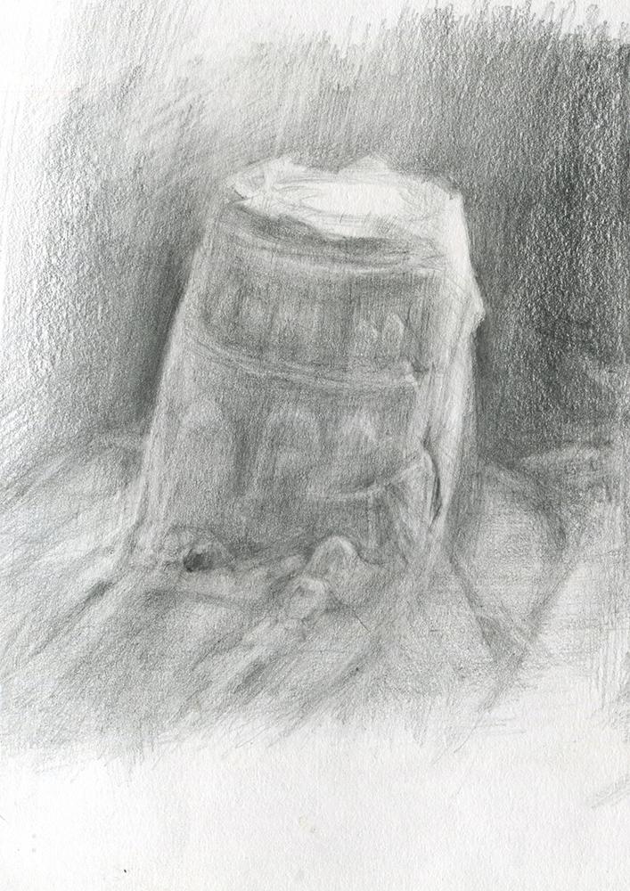 'Alnmouth Castle II' pencil