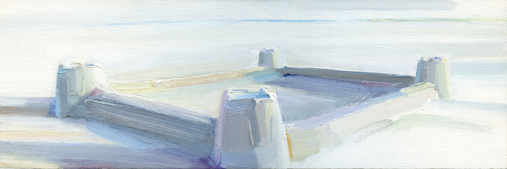 'Alnmouth Castle' oil on board 48cm x 16cm