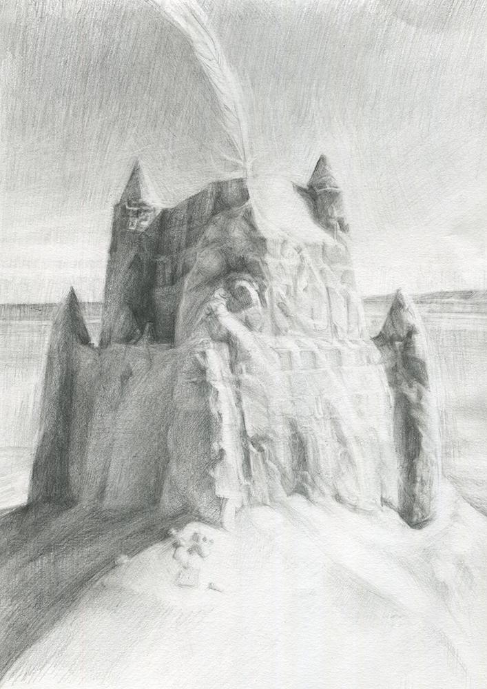 'Alnmouth Castle' pencil