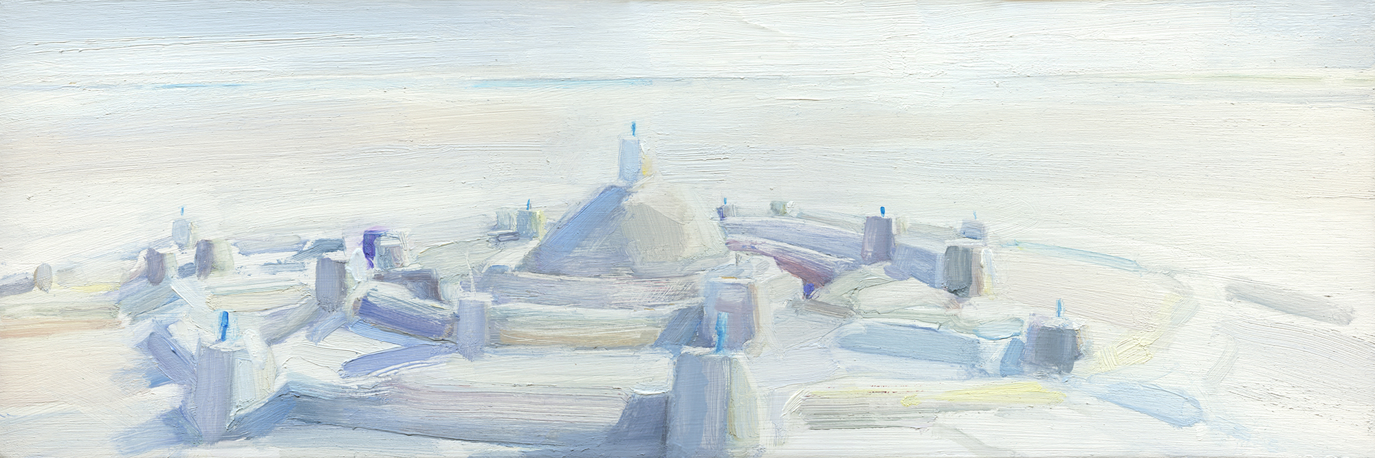 'Alnmouth Castle with Ice Cream Spoons' oil on board 48cm x 16cm