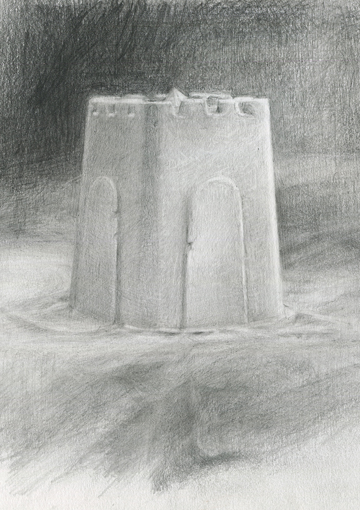 'Alnmouth Castle with Limpet Shell' pencil