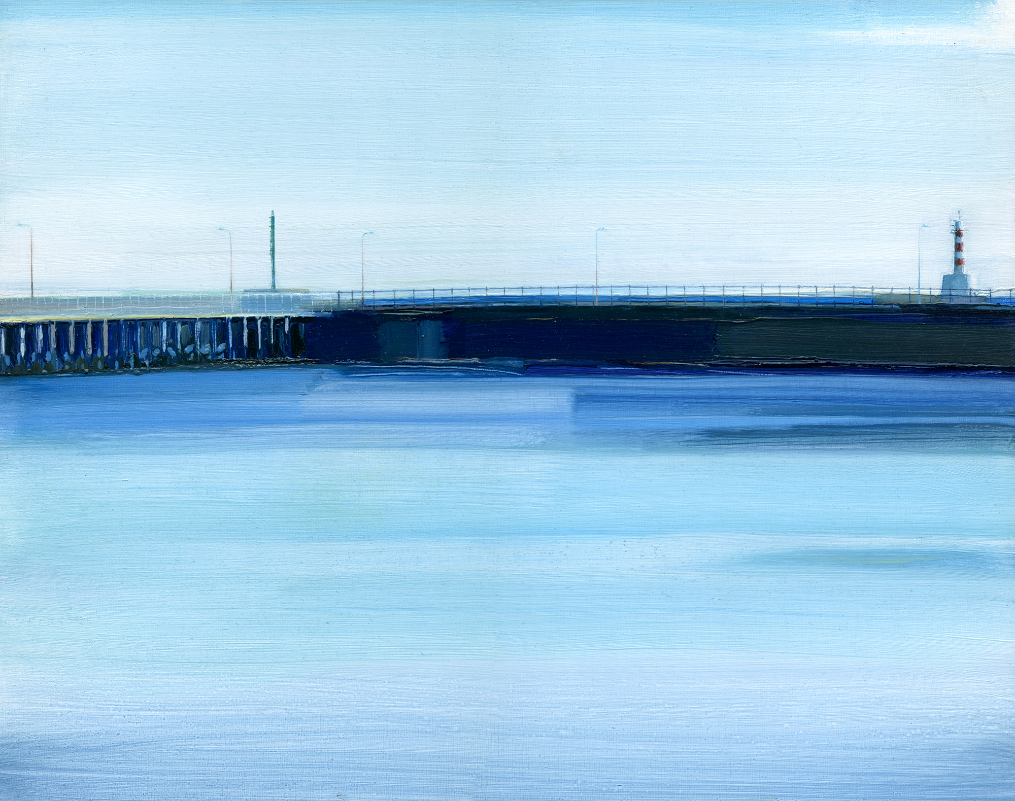'Amble Piers' oil on board 38cm x 30cm