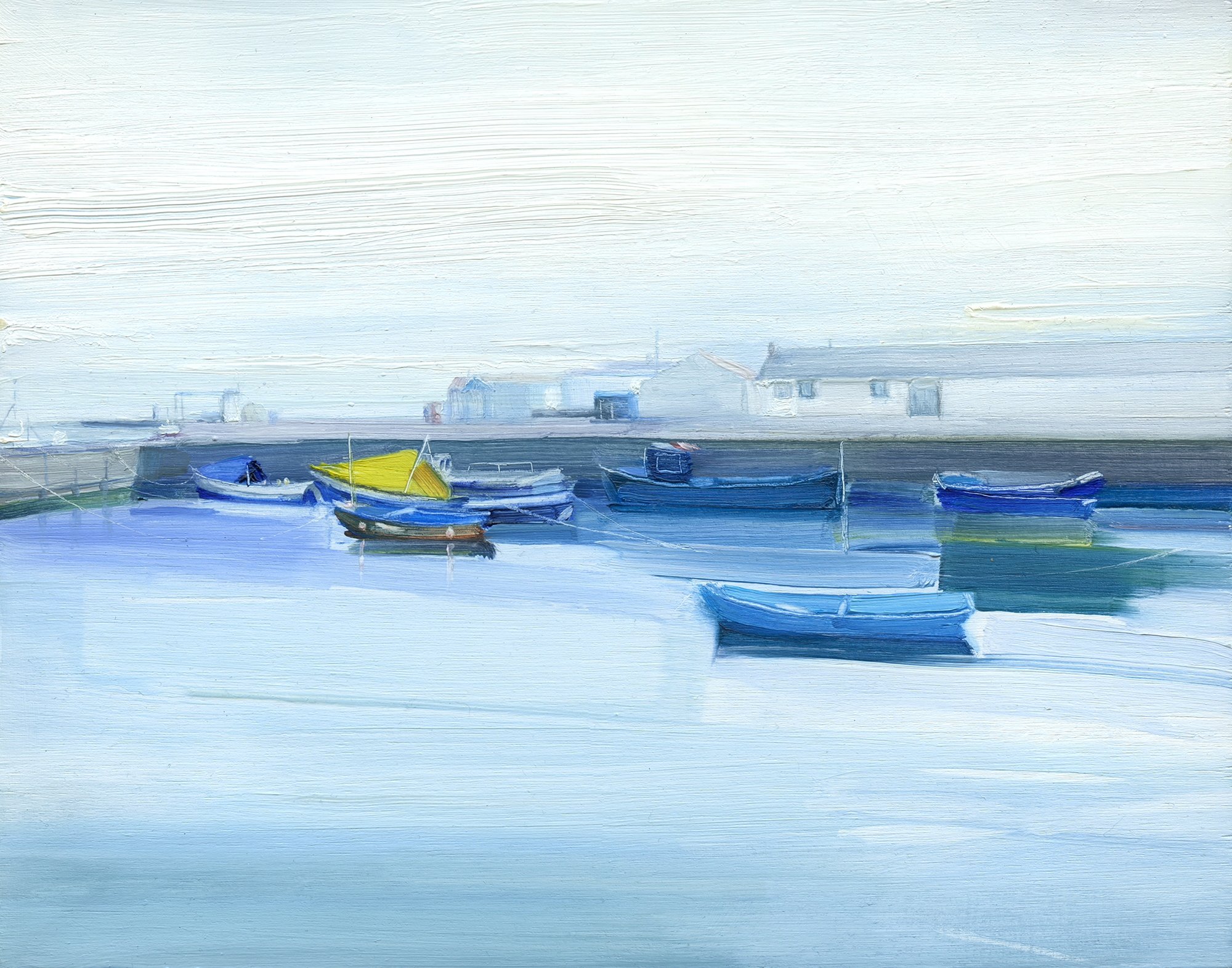 'Boats in Amble Dock' oil on board 28cm x 22cm