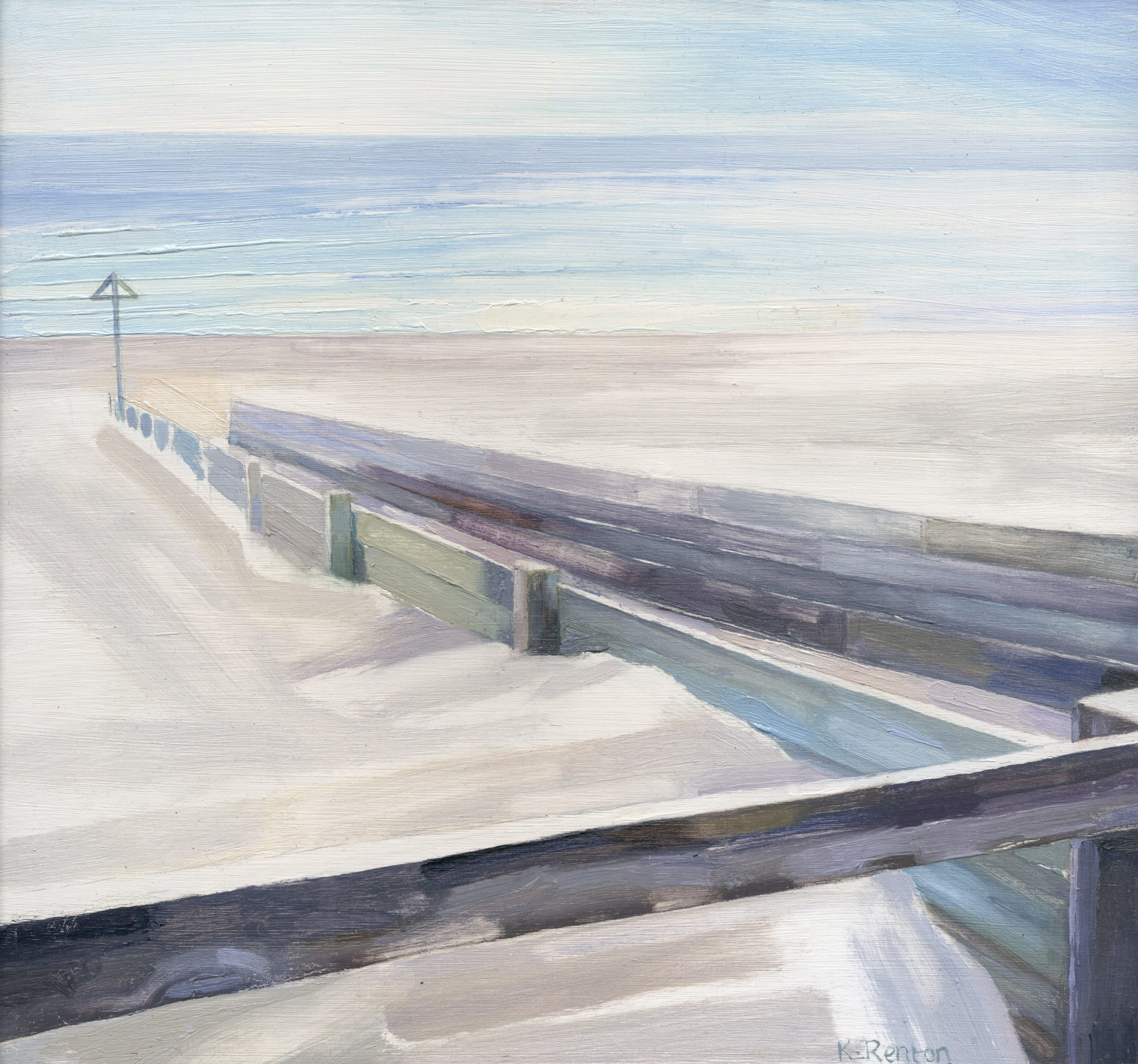 'Dune Walkway - Alnmouth III' oil on board 30cm x 32cm