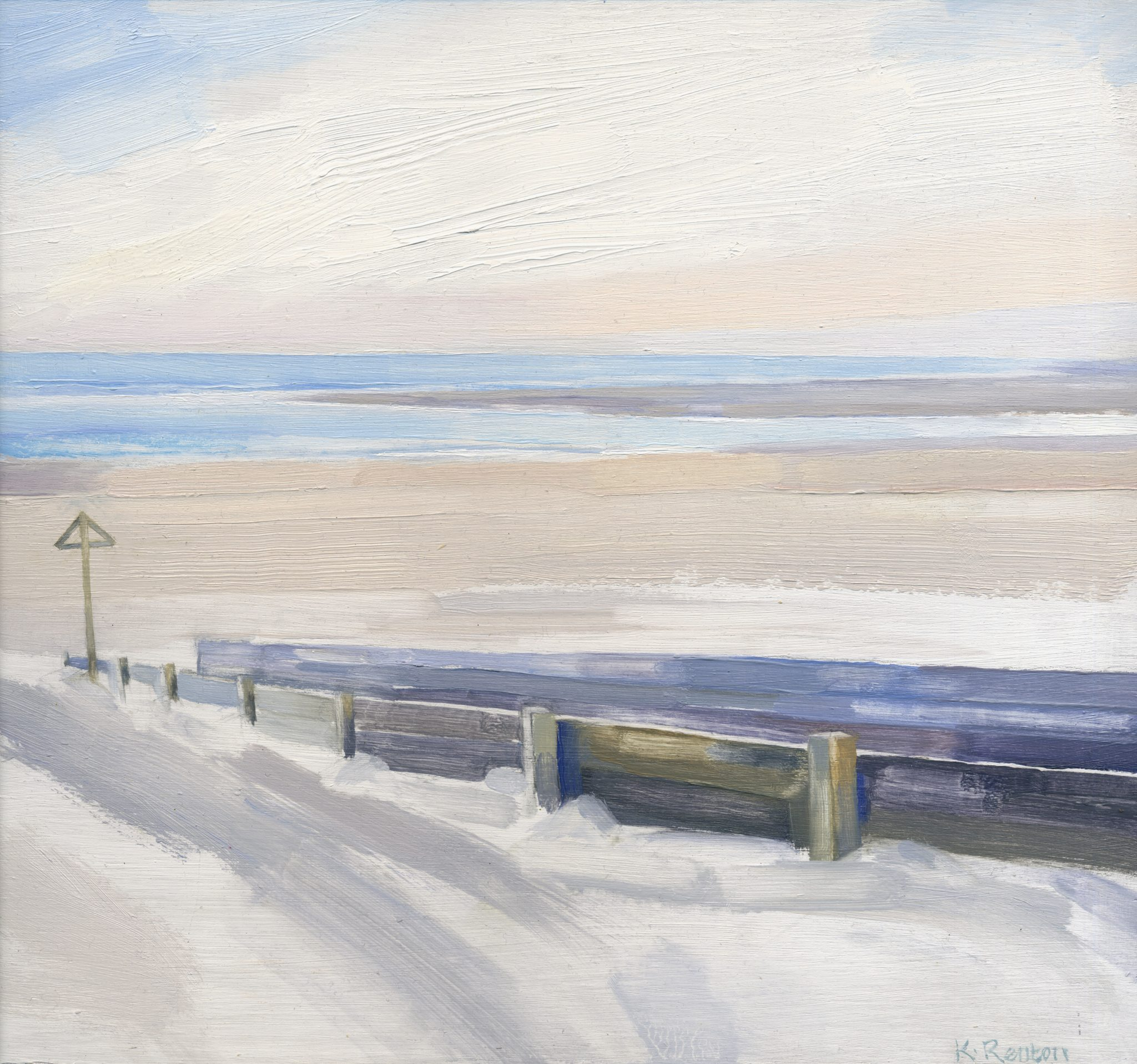 'Dune Walkway - Alnmouth IV' oil on board 30cm x 32cm
