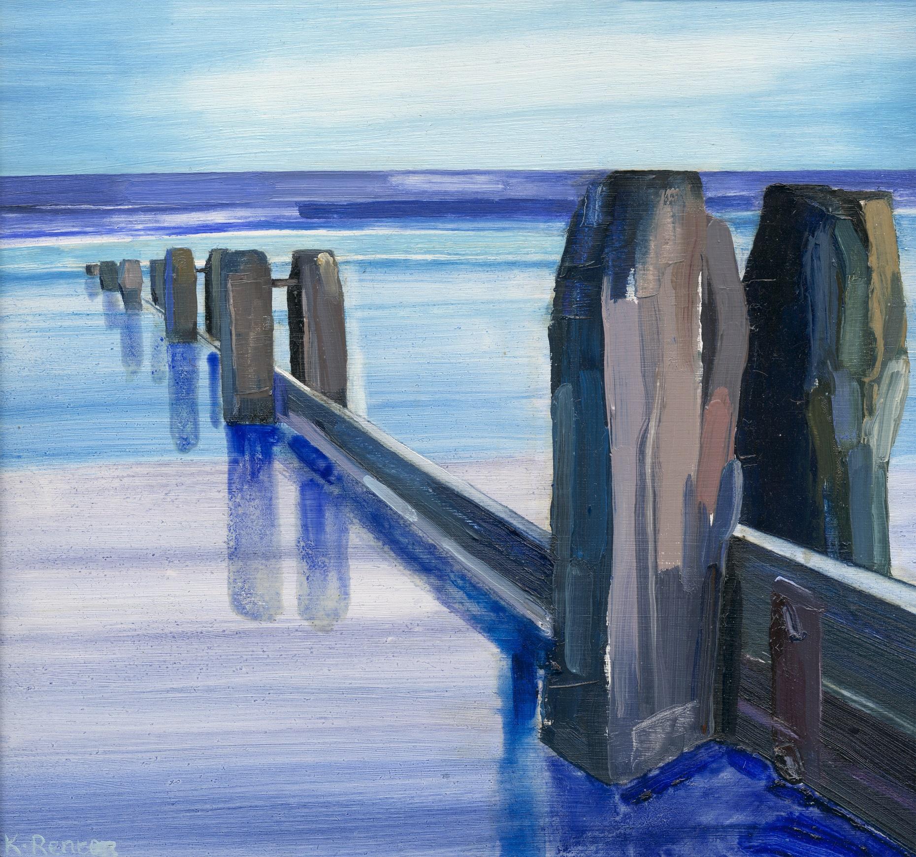 'Groynes - Alnmouth' oil on board 30cm x 32cm