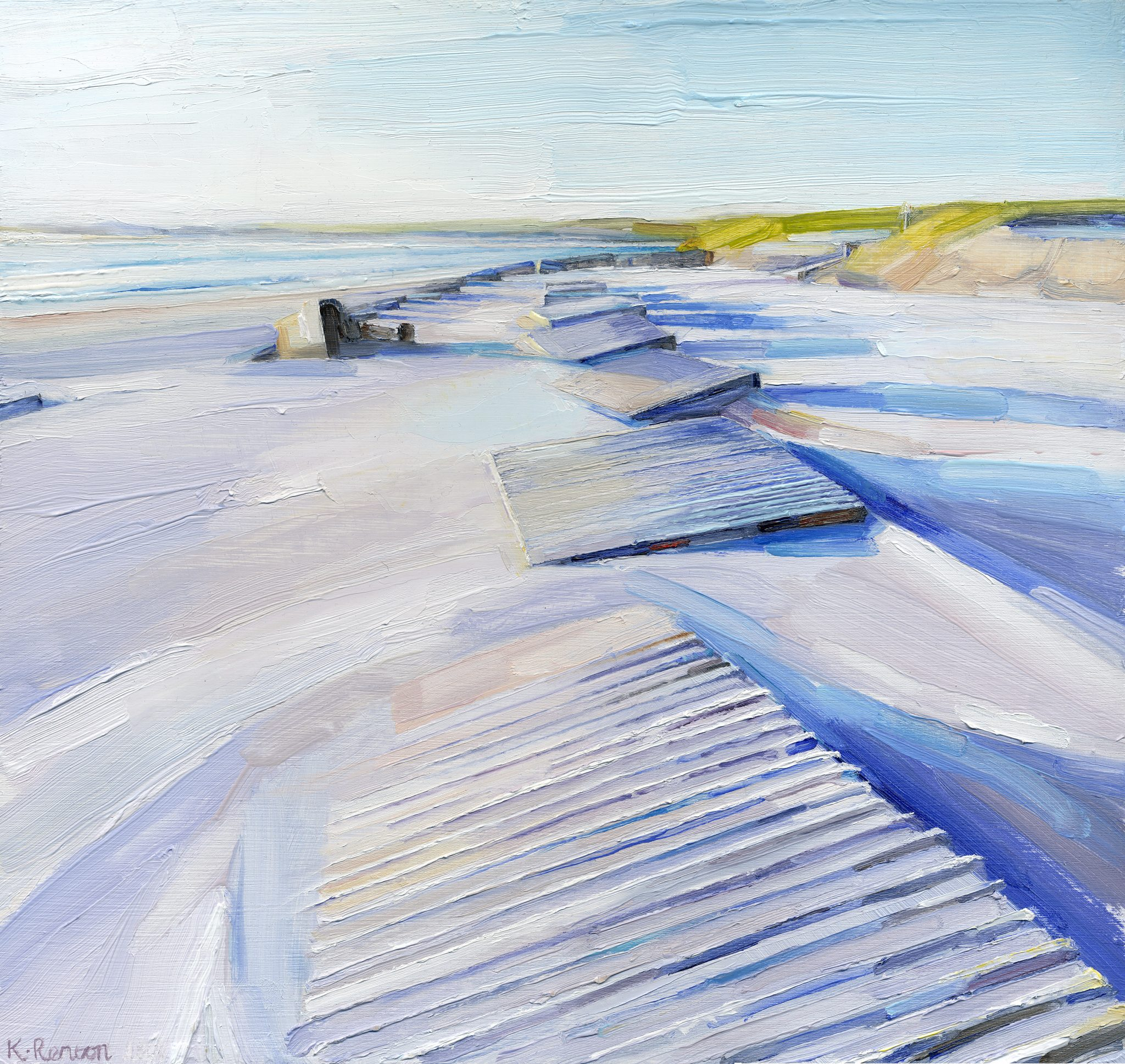 'Lines of Defence - Alnmouth II' oil on board 30cm x 32cm