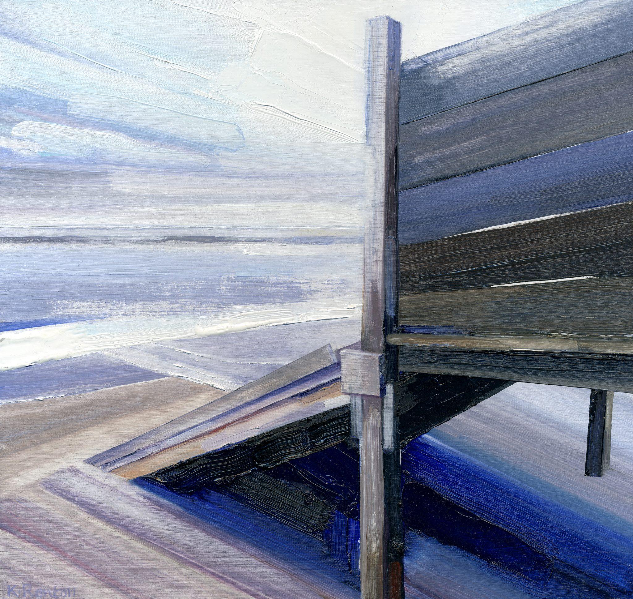 'Receding Tide - Alnmouth' oil on board 30cm x 32cm